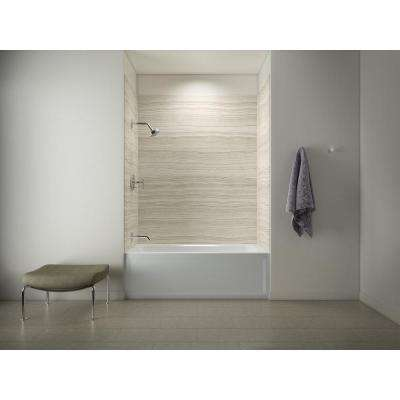 Archer 5 ft. Left Drain Tub with Choreograph 72 in. 5-Piece Bath/Shower Wall Surround in VeinCut Biscuit
