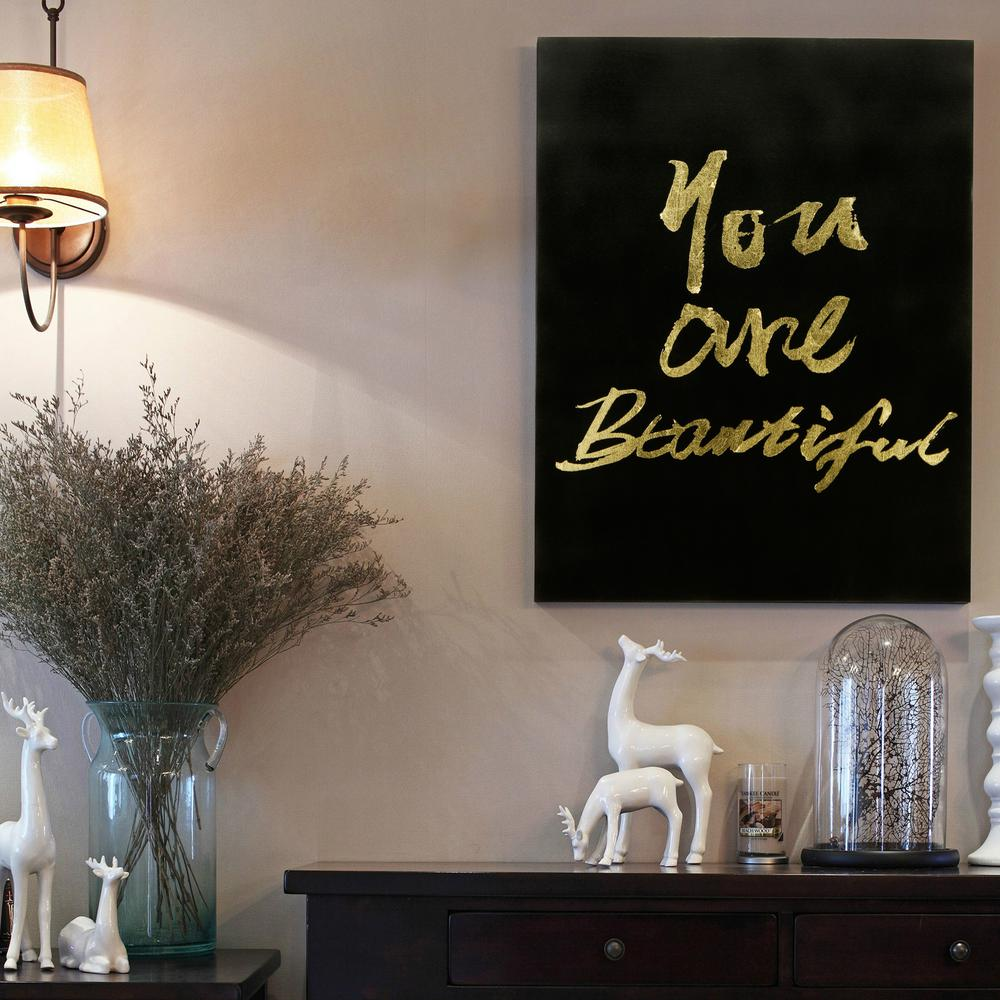 You Are Beautiful Gallery Wrap Gold Stamped