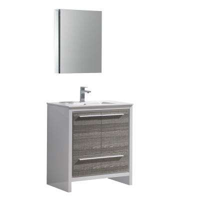Allier Rio 30 in. Modern Bathroom Vanity in Ash Gray with Ceramic Vanity Top in White and Medicine Cabinet