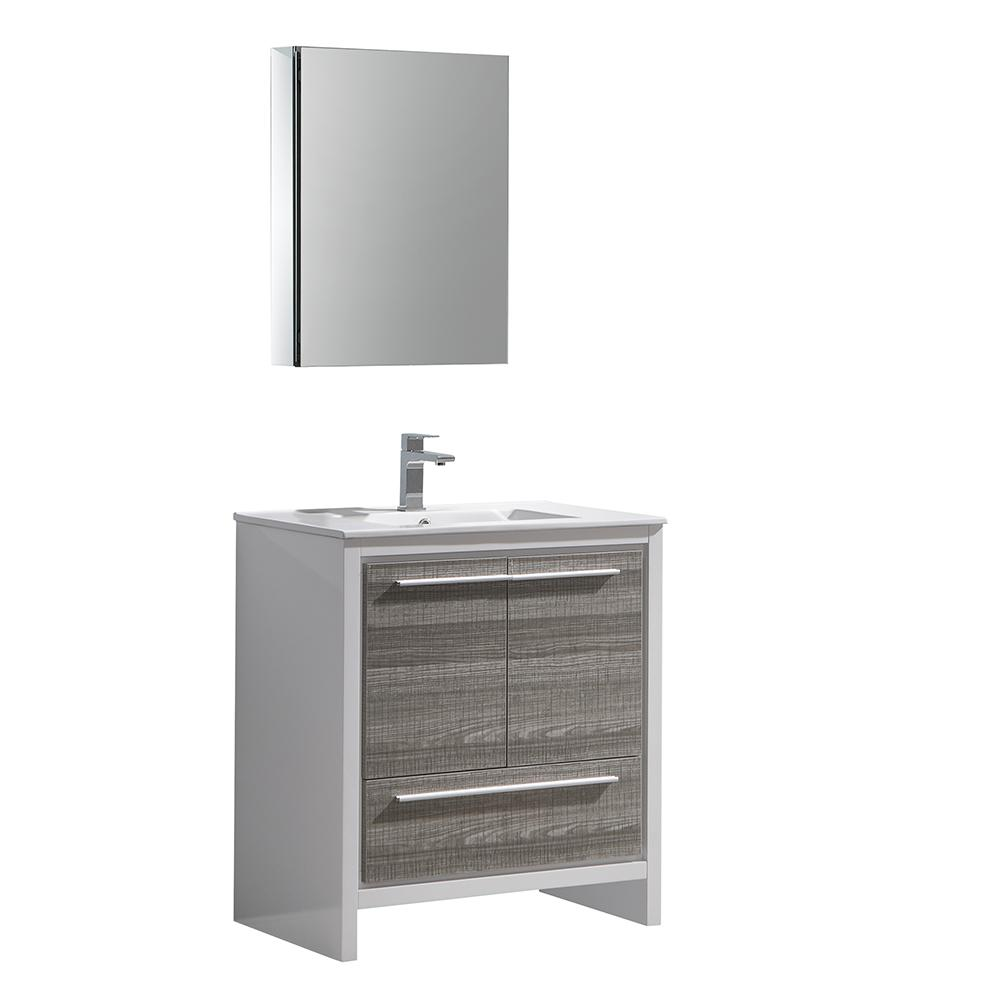 Fresca Allier Rio 30 in. Modern Bathroom Vanity in Ash Gray with ...