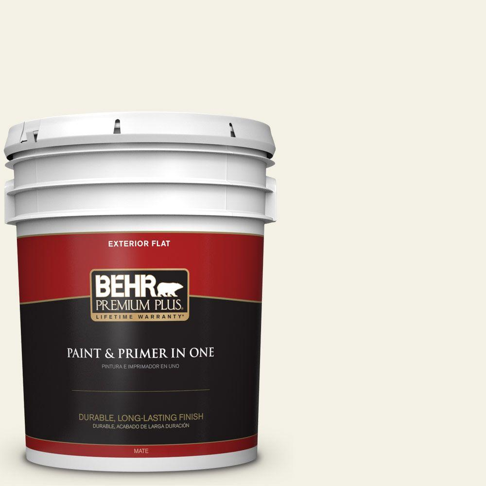 5-gal. #BXC-01 Resort White Flat Exterior Paint