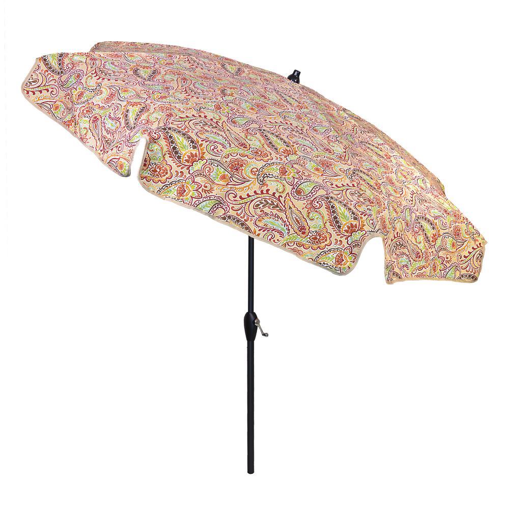 7.5 ft. Aluminum Patio Umbrella in Chili Paisley with Tilt