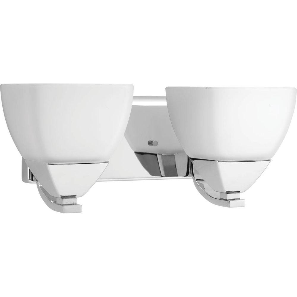Appeal Collection 2-Light Polished Chrome Vanity Light with Etched White Glass
