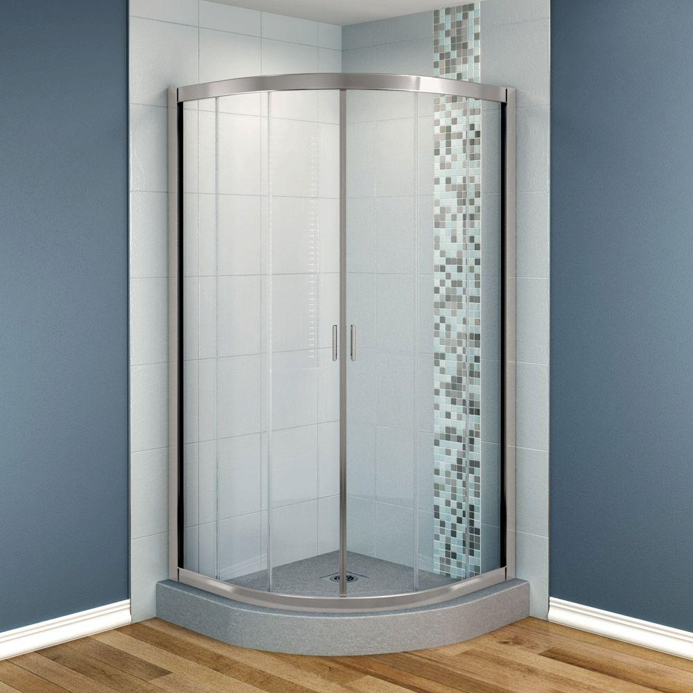 MAAX Intuition 32 in. x 32 in. x 70 in. Neo-Round Frameless Corner Shower Door with Clear Glass in Nickel Finish-DISCONTINUED