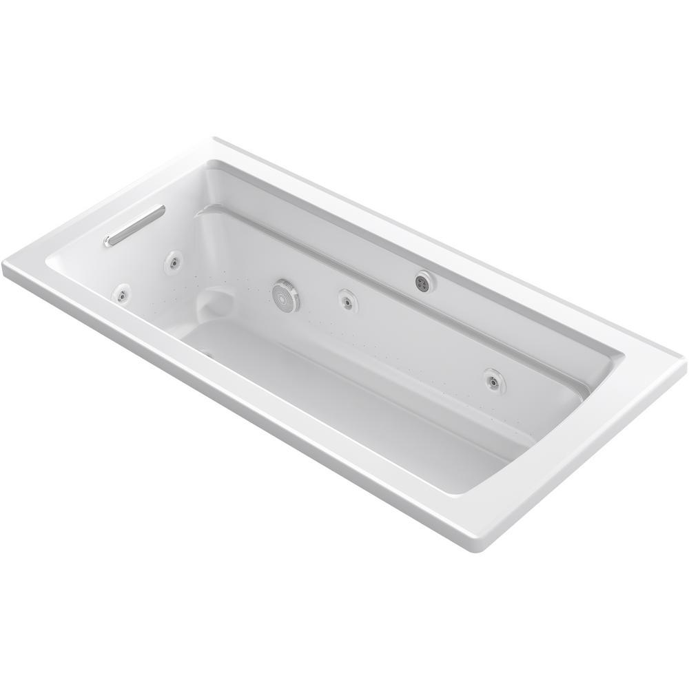 Archer 66 in. Rectangular Drop-in Whirlpool and Air Bath Bathtub in White