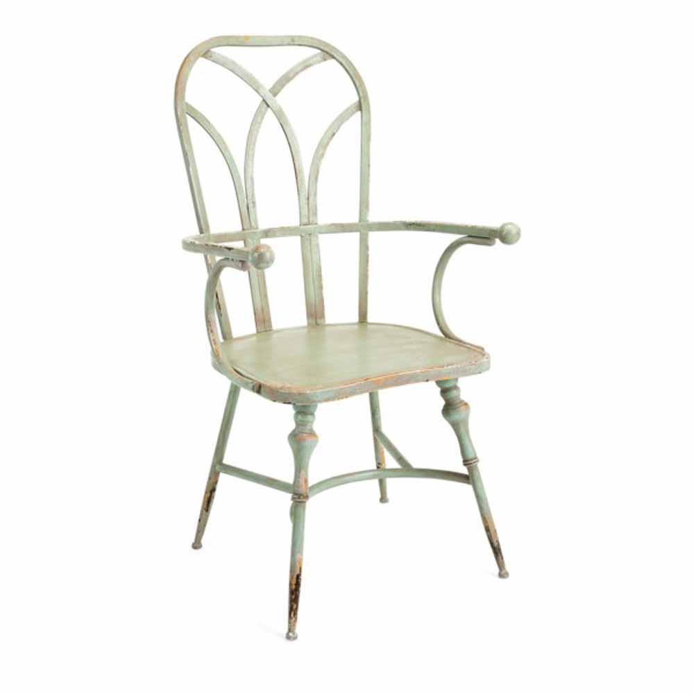 Georgette Green Metal Arm Chair