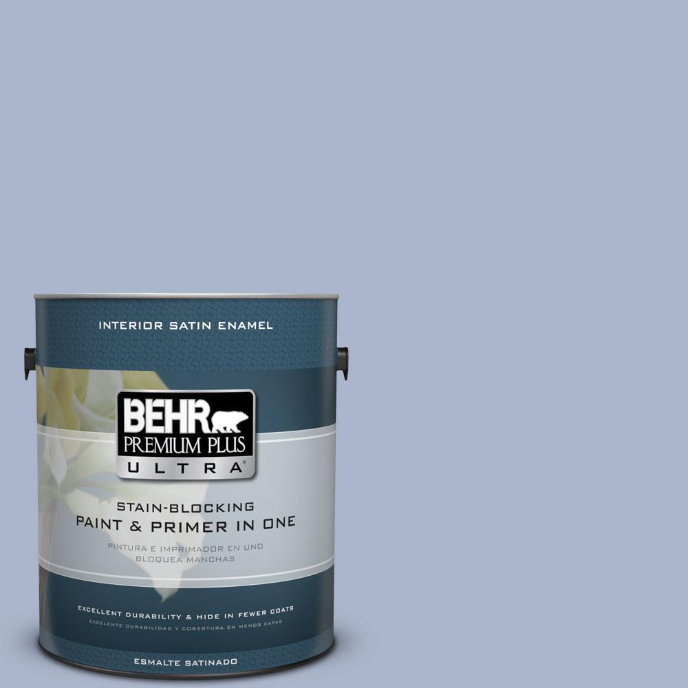 BEHR Premium Plus Ultra 1-Gal. #PPU15-14 Ballroom Blue Satin Enamel Interior Paint