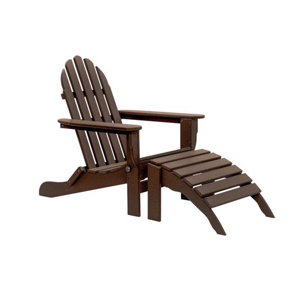 Icon Chocolate 2-Piece Folding Recycled Plastic Adirondack Chair