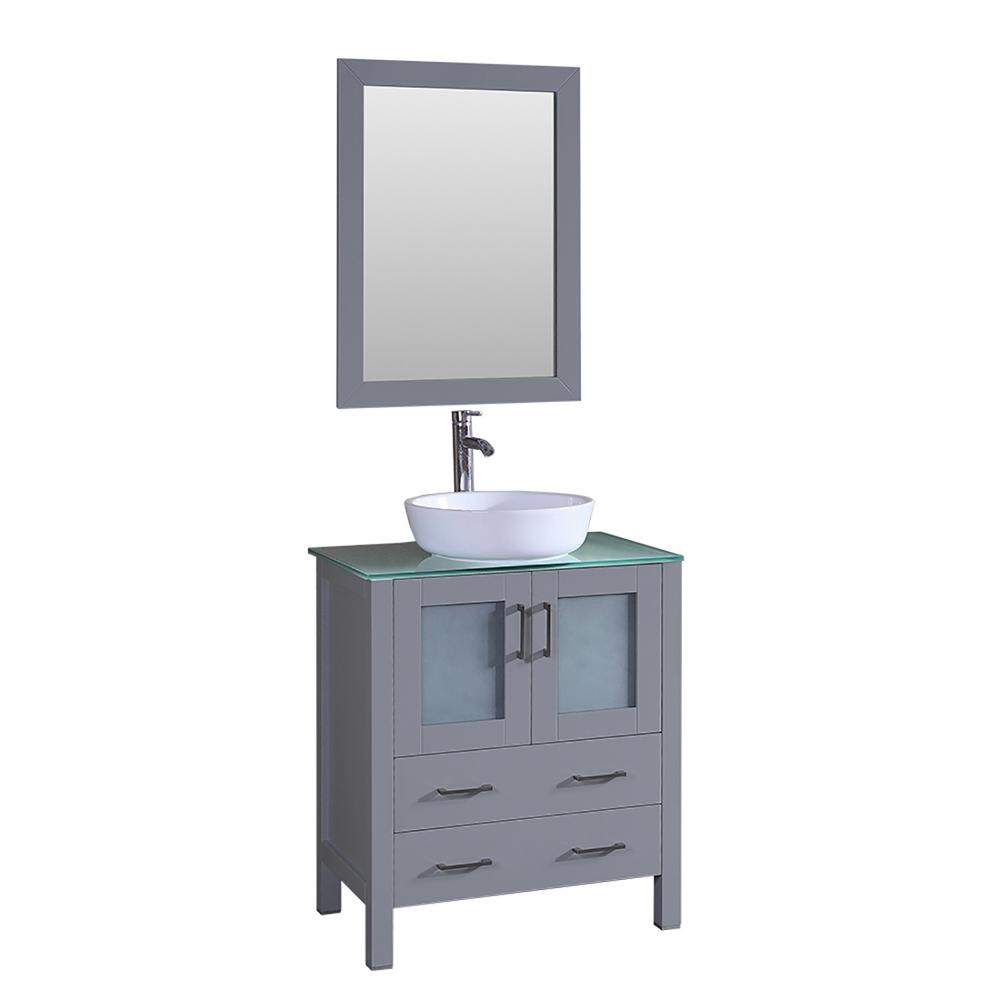 Bosconi Bosconi 30 in. W Single Bath Vanity in Gray with Vanity Top in Green with White Basin and Mirror