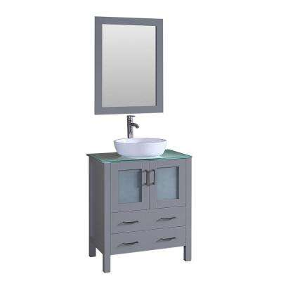 Bosconi 30 in. W Single Bath Vanity in Gray with Vanity Top in Green with White Basin and Mirror
