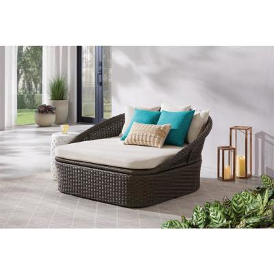 2-Person Brown Wicker Outdoor Patio Daybed with Almond Cushion