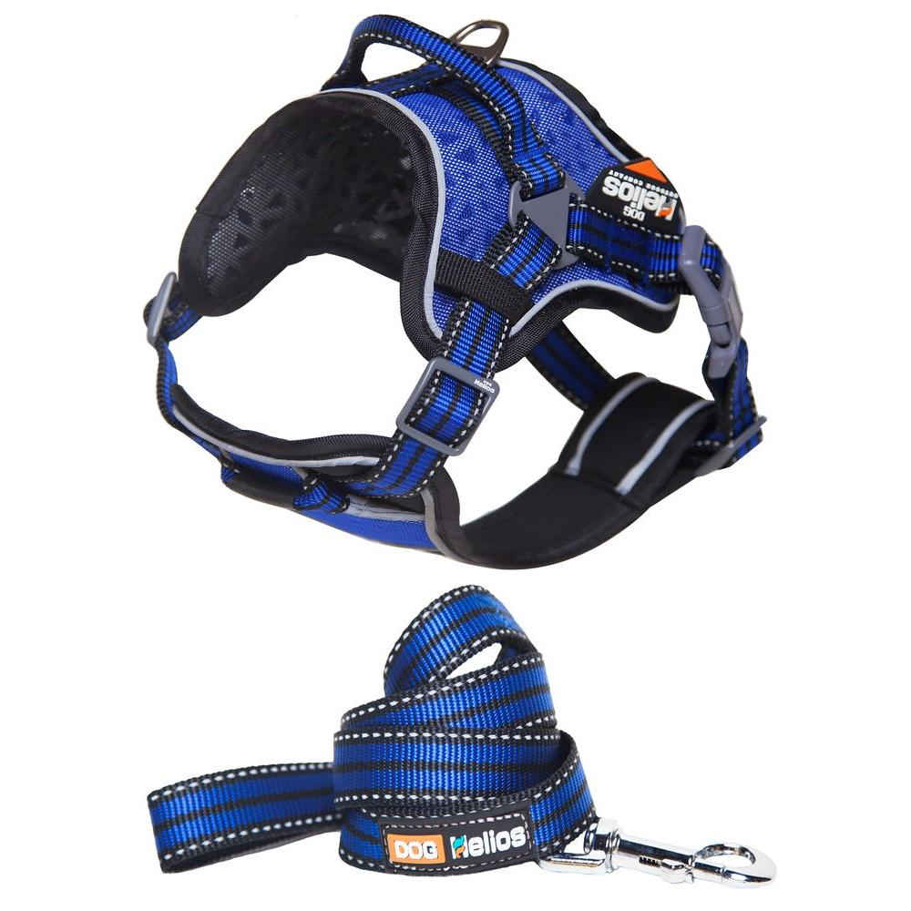 Medium Blue Dog Chest Compression Pet Harness and Leash Combo