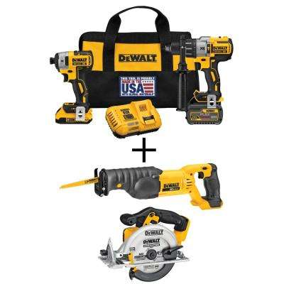 20-Volt MAX Lithium-Ion Cordless Brushless Combo Kit (2-Tool) w/FLEXVOLT and 20V Batteries, Bonus Circ Saw and Recip Saw