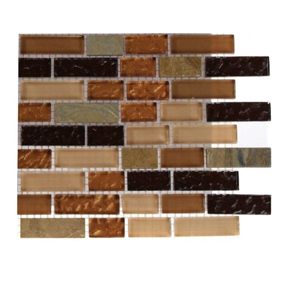 Splashback Tile Golden Trail Blend Bricks 1 2 In X 2 In