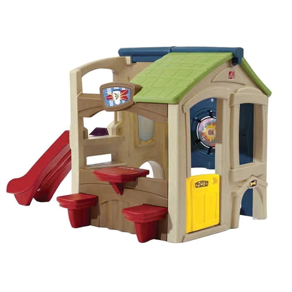 Step2 neighborhood fun center refresh playhouse 851000 for Toddler outdoor playhouse