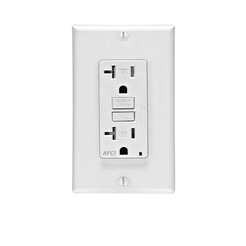 Leviton 20 Amp AFCI Tamper Resistant Duplex Outlet, White-R12-AFTR2 ...
