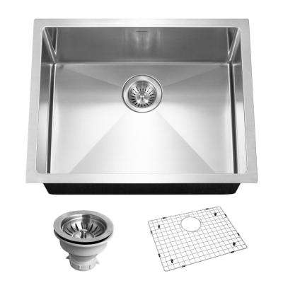 Savoir Series Undermount Stainless Steel 23 in. Single Bowl Kitchen Sink, Satin Brushed