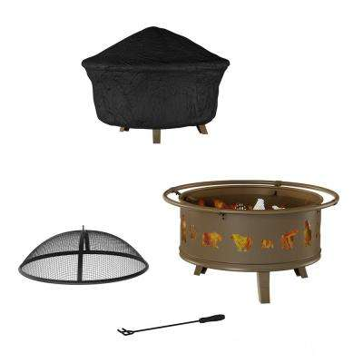 32 in. W x 25 in. H Round Steel Wood Burning Outdoor Deep Fire Pit in Antique Gold with Bear Cutouts