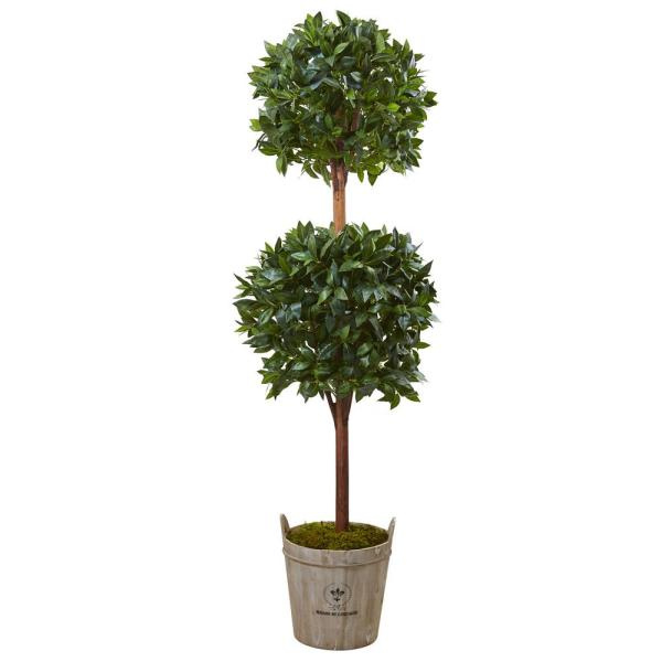 Indoor Double Ball Topiary Artificial Tree with European Barrel Planter