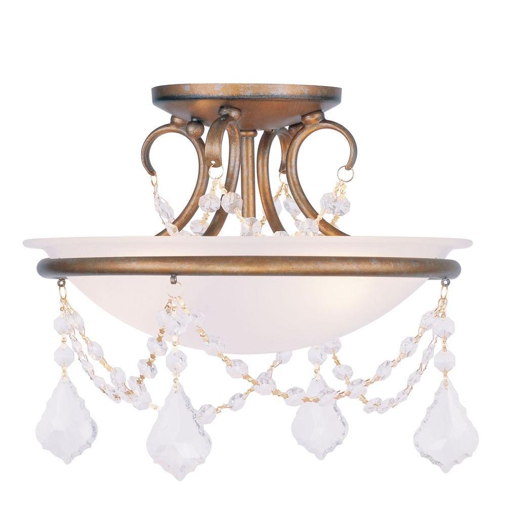Livex Lighting Providence 2-Light Ceiling Antique Gold Leaf Incandescent Semi-Flush Mount