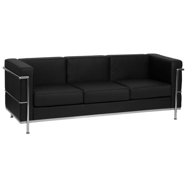 Flash Furniture Hercules Regal Series Contemporary Black Leather ...