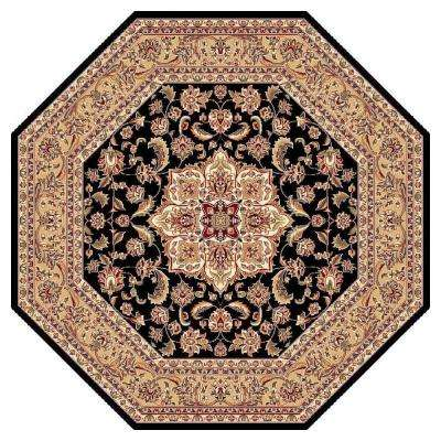 Classic Medallion Black 7 ft. 7 in. x 7 ft. 7 in. Octagon Area Rug