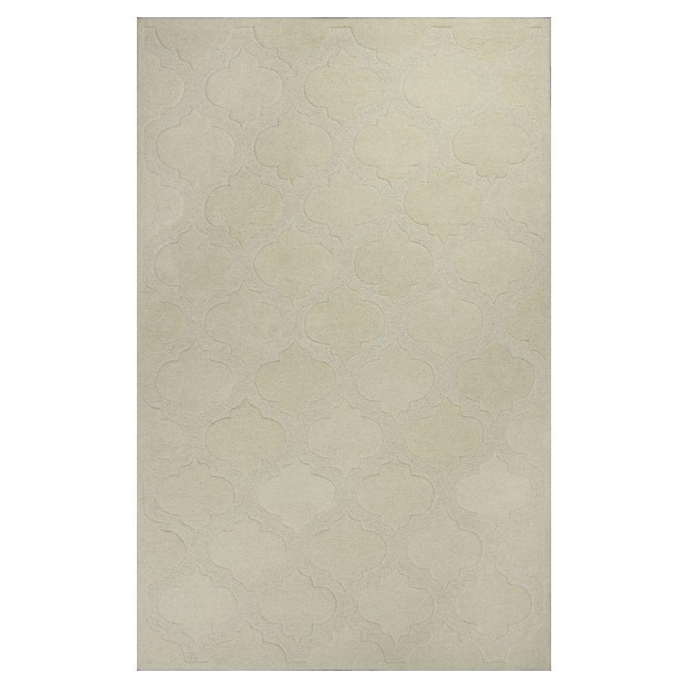 Kas Rugs Moroccan Tile Ivory 3 ft. 3 in. x 5 ft. 3 in. Area Rug