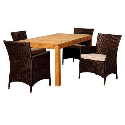 Porter 5-Piece Wood Outdoor Dining Set with Beige Cushions