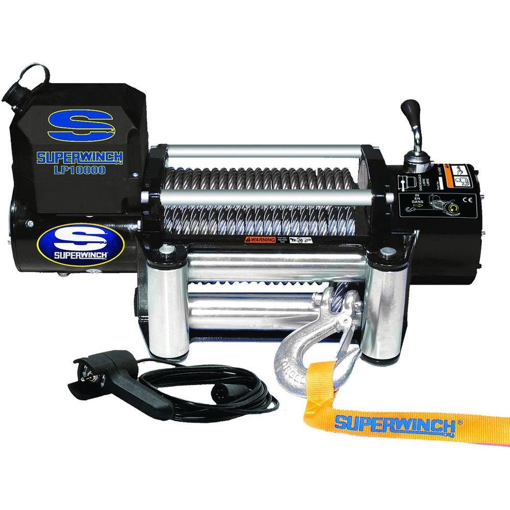 LP10000 12-Volt DC Off-Road Winch with 4-Way Roller Fairlead and 12