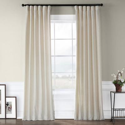 Heavy Faux Barley Brown Polyester Linen Room Darkening Curtain - 50 in. W x 96 in. L