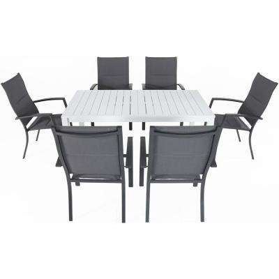Palermo 7-Piece Aluminum Outdoor Dining Set with 6-Padded Sling Chairs in Gray and a 78 in. x 40 in. Dining Table
