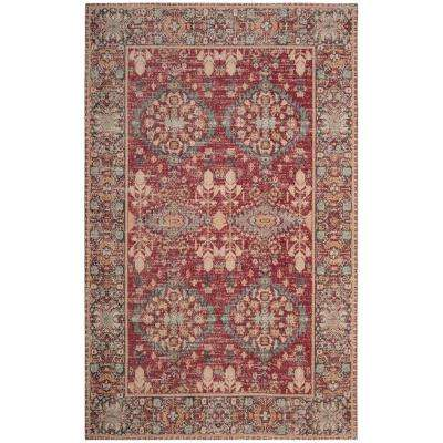 Classic Vintage Red/Multi 5 ft. x 8 ft. Area Rug