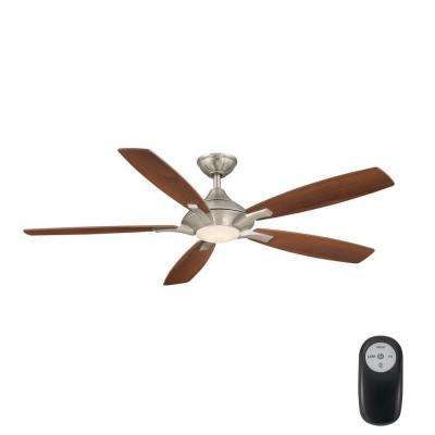 Petersford 56 in. Integrated LED Indoor Brushed Nickel Ceiling Fan Ceiling Fan with Light Kit and Remote Control