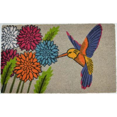PVC Backed Coir, Blue Hummingbird, 30 in x 18 in. Natural Coconut Husk Door Mat