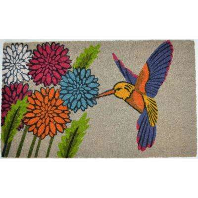 PVC Backed Coir Mat, Blue Hummingbird, 30 in x 18 in. Natural Coconut Husk Doormat