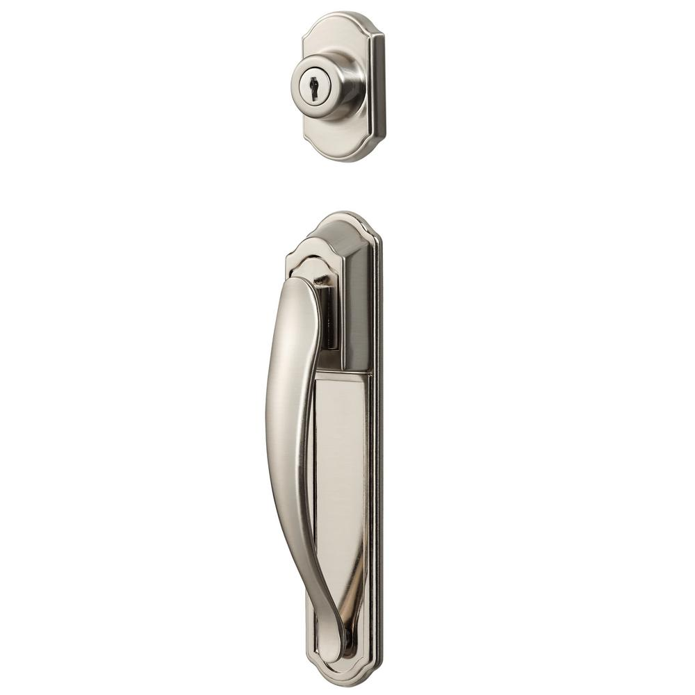 IDEAL Security Satin Nickel Coated Zinc Storm and Screen Pull Handle with Key Lock Set