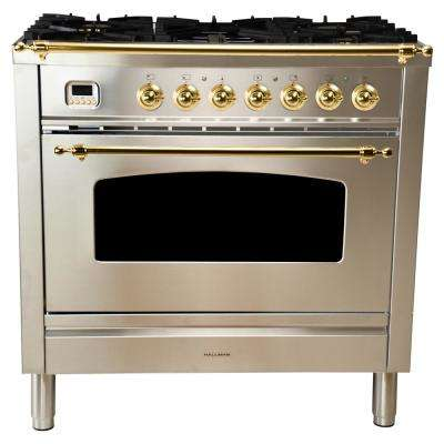 36 in. 3.55 cu. ft. Single Oven Dual Fuel Italian Range True Convection, 5 Burners, Griddle, Brass Trim/Stainless Steel