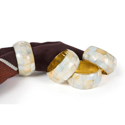 Mother of Pearl Elegant Gold Rounded Inlay Metal Napkin Rings (Set of 4)