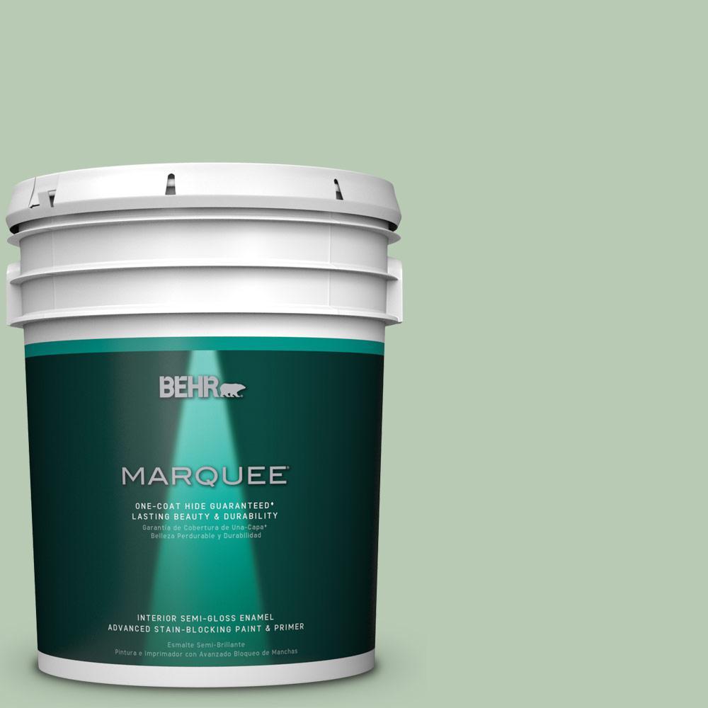 5 gal. #S400-3 Healing Aloe One-Coat Hide Semi-Gloss Enamel Interior Paint