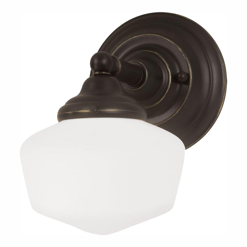 Sea Gull Lighting Academy 1-Light Heirloom Bronze Bath Light with LED Bulb