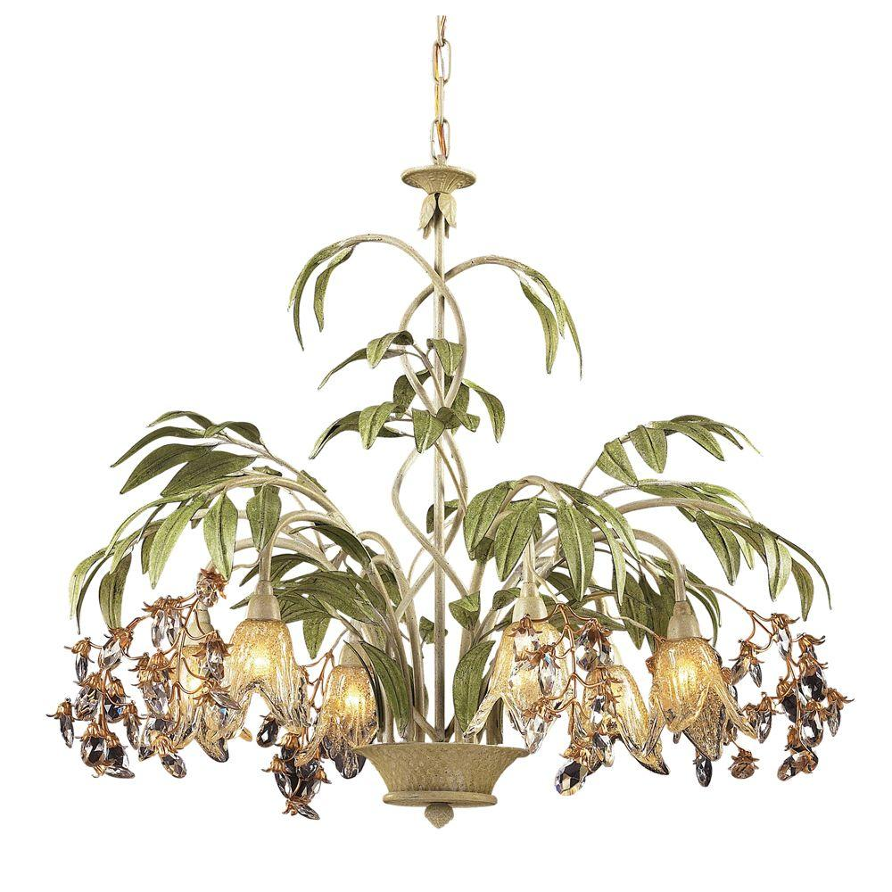 Titan lighting huarco 6 light seashell and green chandelier with titan lighting huarco 6 light seashell and green chandelier with amber glass flower shades arubaitofo Image collections