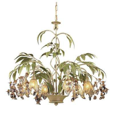 Huarco 6-Light Seashell And Green Chandelier With Amber Glass Flower Shades