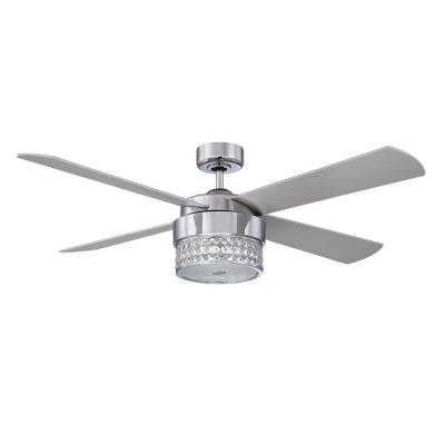 Celestra 52 in. Indoor Chrome and Optic Crystal Ceiling Fan with Remote Control and Wall Control
