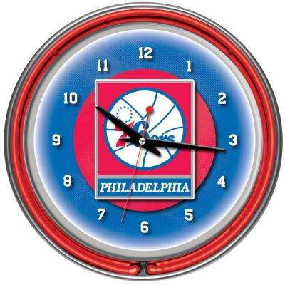 14 in. Philadelphia 76ers NBA Chrome Double Ring Neon Wall Clock