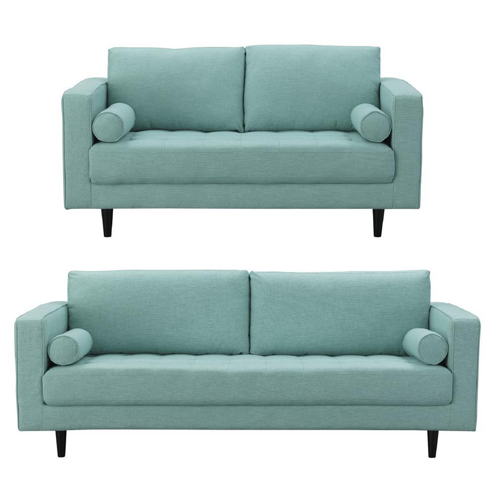 Manhattan comfort arthur 2 piece mint green blue tweed 3 seat sofa and