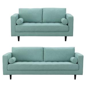 Arthur 2-Piece Mint Green-Blue Tweed 3-Seat Sofa and 2-Seat Loveseat
