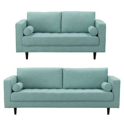Arthur 2 Piece Mint Green Blue Tweed 3 Seat Sofa And