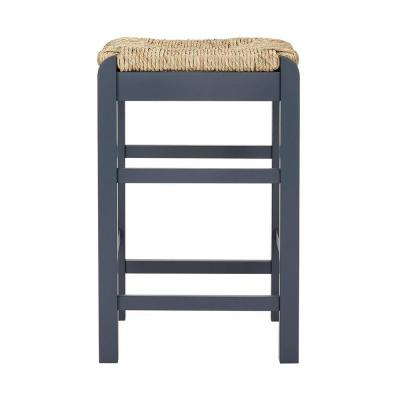 Dorsey Midnight Blue Wood Backless Counter Stool with Rush Seat (16.54 in. W x 25.59 in. H)