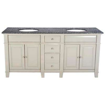 72 in. W x 23 in. D Solid Hardwood Double Vanity in Dove Gray with Solid Granite Top in Leopard