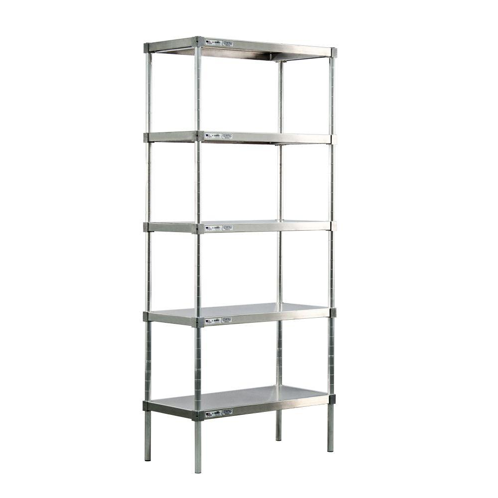 New Age Industrial 5-Shelf Aluminum Solid Top Style Adjustable Shelving